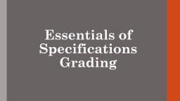 Essentials of Specifications Grading
