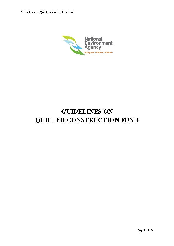 Guidelines on Quieter Construction Fund
