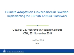 Climate Adaptation Governance in Sweden: