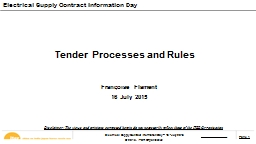 Tender Processes and Rules