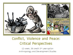 Conflict, Violence and Peace: