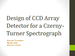 Design of CCD Array Detector for a Czerny-Turner Spectrogra PowerPoint PPT Presentation