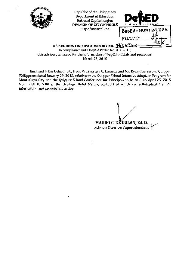 Republic of the Philippines Department of Education DdED National Ca