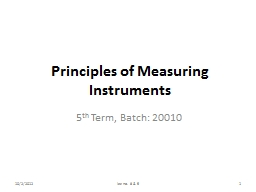 Principles of Measuring Instruments