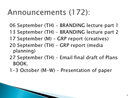 06 September (TH) – BRANDING lecture part 1