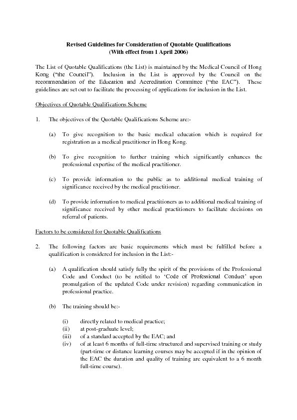 Revised Guidelines for Consideration of Quotable Qualifications ...