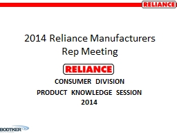 2014 Reliance Manufacturers Rep Meeting
