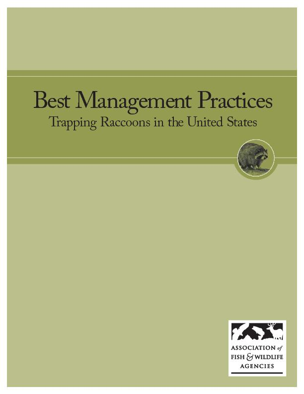 Best Management PracticesTrapping Raccoons in the United States ...