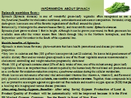 Spinach nutrition facts:-