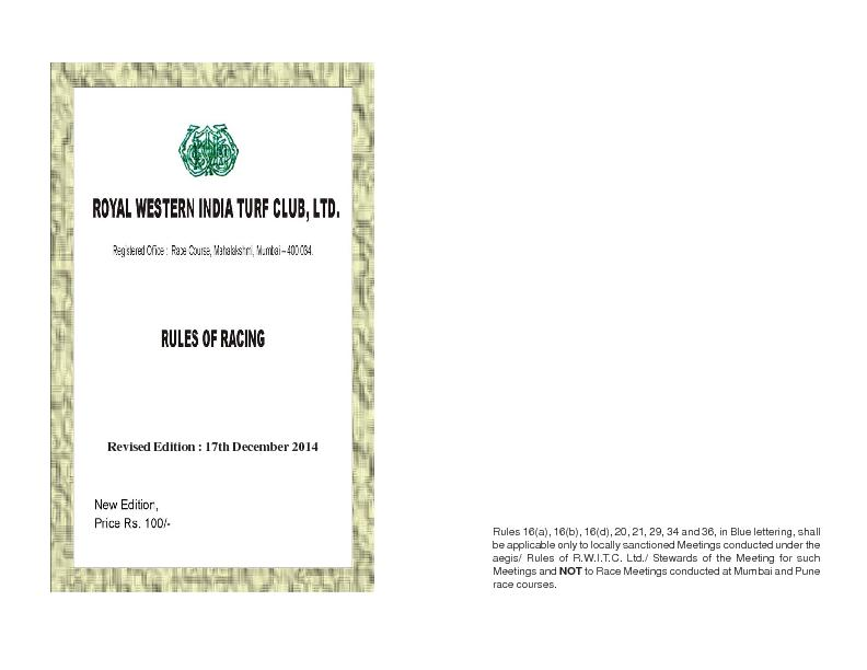 aegis/ Rules of R.W.I.T.C. Ltd./ Stewards of the Meeting for such to R PowerPoint PPT Presentation