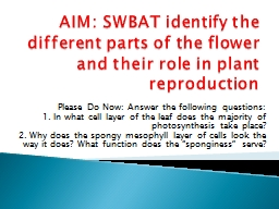 AIM: SWBAT identify the different parts of the flower and t