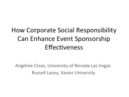 How Corporate Social Responsibility Can Enhance Event Spons PowerPoint PPT Presentation