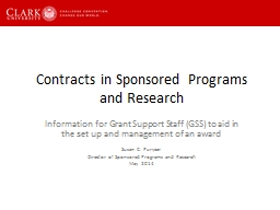 Contracts in Sponsored Programs and Research PowerPoint PPT Presentation