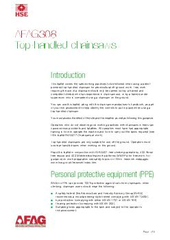 Page  of  AFAG Tophandled chainsaws Introduction This leaflet covers the safe working practices to be followed when using a petrol powered tophandled chainsaw for arboricultural offground work