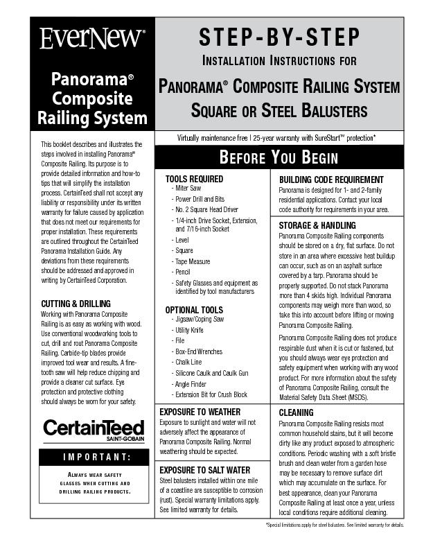 PanoramaComposite Railing SystemThis booklet describes and illustrates