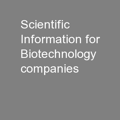 Scientific Information for Biotechnology companies