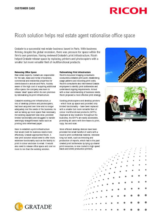 Ricoh solution helps real estate agent rationalise oce spaceGratade i