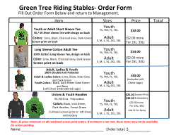 Green Tree Riding Stables- Order Form