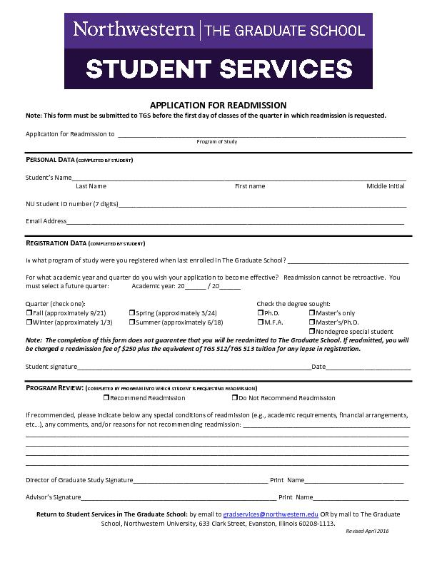 APPLICATION FOR READMISSIONNote: This form must be submitted to TGS be