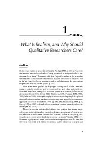 1     What Is Realism, and Why Should Qualitative Researchers Care?