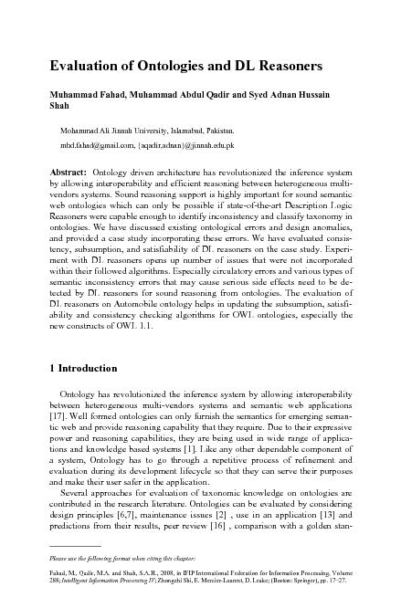 Evaluation of Ontologies and DL Reasoners Muhammad Fahad, Muhammad Abd