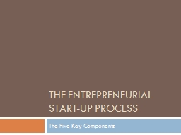 The Entrepreneurial start-up process