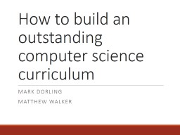 How to build an outstanding computer science curriculum