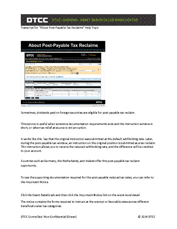 """Transcript for """"About PostPayable Tax Reclaims"""" Help Topic ."""