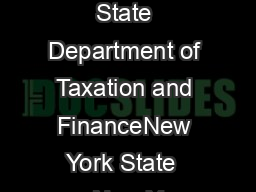 New York State Department of Taxation and FinanceNew York State  New Y PowerPoint PPT Presentation
