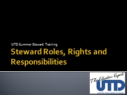 Steward Roles, Rights and Responsibilities
