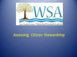 Assessing Citizen Stewardship