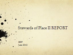 Stewards of Place II REPORT PowerPoint PPT Presentation