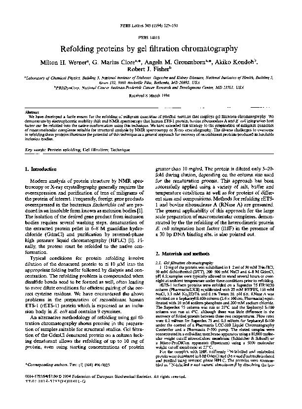 FEBS Letters 345 (1994) 125-130 FEBS 14015 Refolding proteins by gel f
