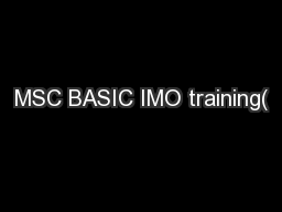 MSC BASIC IMO training(