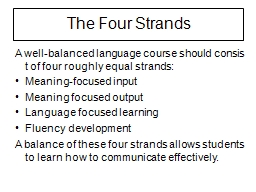 A well-balanced language course should consist of four roug