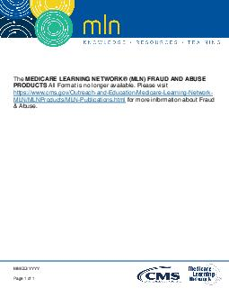 The Medicare Learning Network MLN products listed on this page were d PDF document - DocSlides