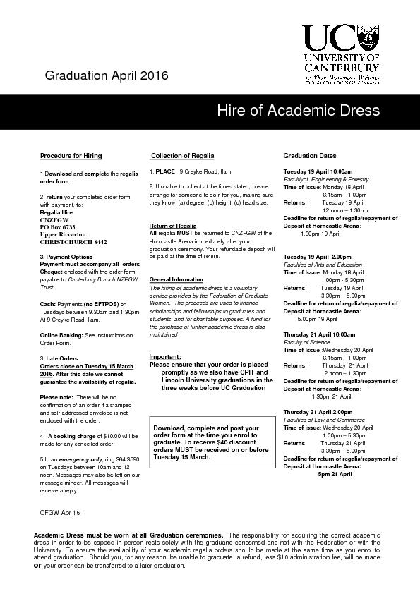 Hire of Academic Dress