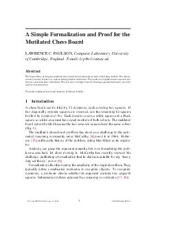 A Simple Formalization and Proof for the Mutilated Chess Board LAWRENCE C