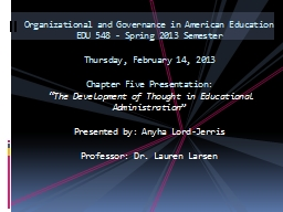 Organizational and Governance in American Education