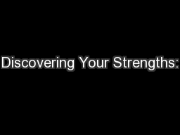 Discovering Your Strengths: