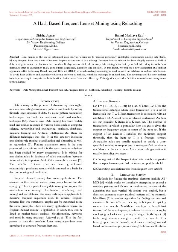 International Journal on Recent and Innovation Trends in Computing and