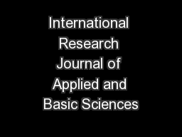 International Research Journal of Applied and Basic Sciences