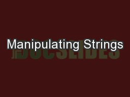 Manipulating Strings