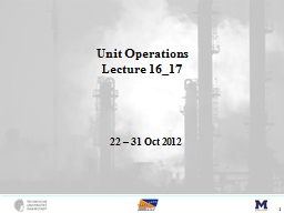Unit Operations PowerPoint PPT Presentation