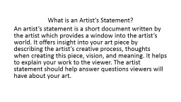 What is an Artist's Statement?