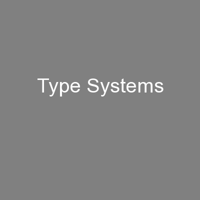 Type Systems