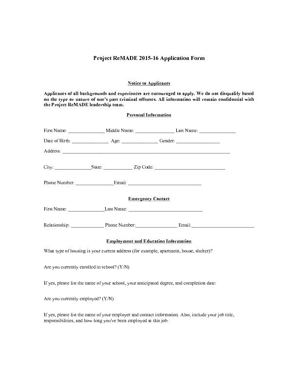 Project ReMADE 2015-16 Application Form     Notice to Applicants  Appl