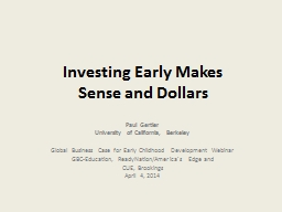 Investing Early Makes
