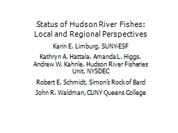 Status of Hudson River Fishes: Local and Regional Perspecti PowerPoint PPT Presentation