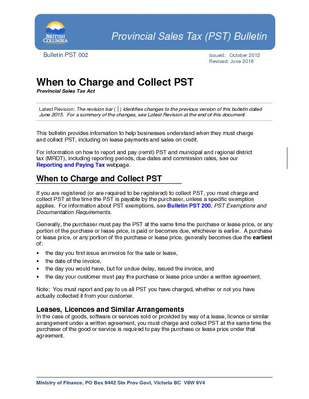 Bulletin PST 002IssuedOctober 2012Revised:June2016